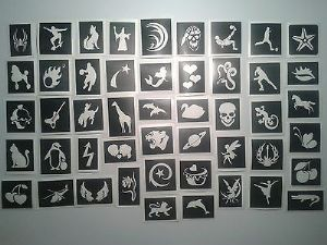 200 x tattoos stencils for glitter tattoos, airbrush, henna, cakes   boys   girls  children   Fund Raising   charity